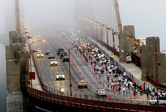 Golden Gate Bridge during the SF Marathon