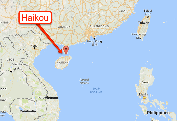 Location of Haikou, China
